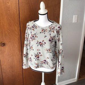 Flowery Sweatshirt laced up shoulders